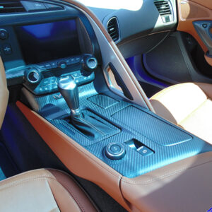 C7 14-UP Lamination Black Carbon Floor Console (Shifter Bezel), Carbon with or without Silver Trim, with Standard or Reverse Weaving (Core Exchange) (Starting from $698 + Refundable Core Deposit $180)  (High Gloss or Matte Finish)