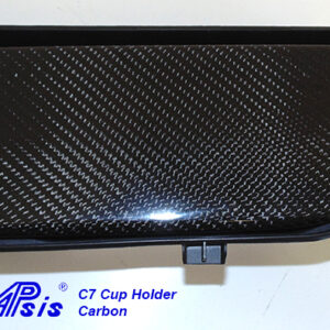 C7 14-UP Lamination Black Carbon Cup Holder Cover, with Standard or Reverse Weaving (Core Exchange) (Starting from $298 + Refundable Core Deposit $100)  (High Gloss or Matte Finish)