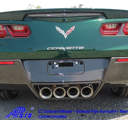 C7 14-UP Lamination Black Carbon Exhaust Diffuser (Rear Fascia) (Core Exchange)  (Starting from $1,998.00 + Refundable Core Charge $600.00) (High Gloss or Matte Finish)