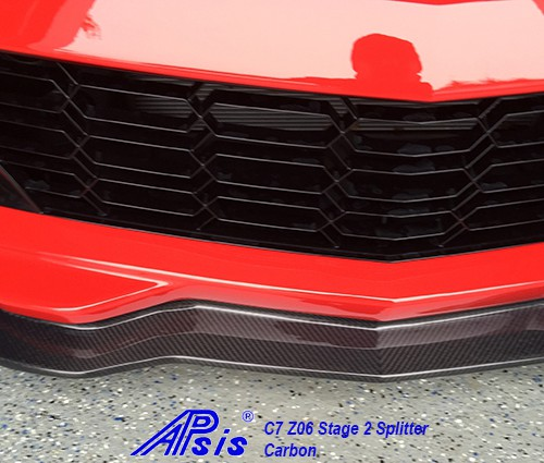 C7 Z06 15-UP, Replica Stage 2 Front Splitter, 3 pcs/set, Matte Black (Carbon Flash, High Gloss Carbon or Matte Finish Carbon)